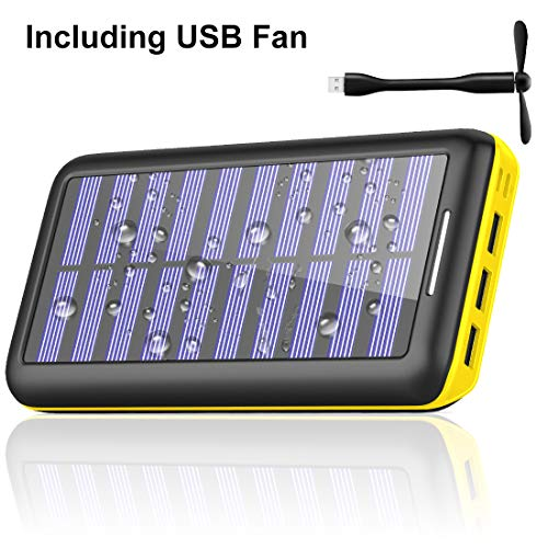 (Power Bank Portable Charger Solar Charger -24000mAh External Battery Pack High Capacity with USB Fan and 3 USB Port for All The Smart Phone,Android Phone, and Other Tablet-(Yellow))