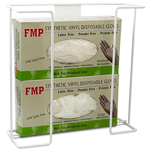Double Wall Mount Glove Tissue Dispenser, 2 Wire Rack Disposable Gloves Napkin Box Holders, Durable Metal Organizer for Food Service, Lab, Medical Office, Home, Garage ()