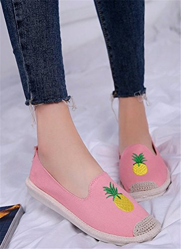 Plaited ACE Canvas Loafer on Pink Flats Driving SHOCK Casual Women Straw Moccasins Slip Shoes 00gwpxrq