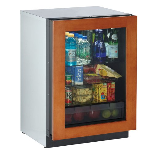 24″ Glass Door Refrigerator, right hinge, overlay