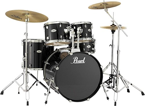 pearl-soundcheck-complete-5-pc-drum-set-with-hardware-and-zildjian-planet-z-cymbals-jet-black