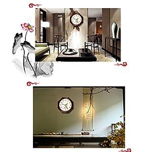 Wall clock Reloj Estilo Moderno y Sencillo Dormitorio Cocina Sala de Estar Oficina Esfera de Metal Espejo de Cristal Marco de Madera Movimiento de escaneo 2 Pilas AA 4