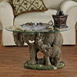 Design Toscano Elephants Majesty African Decor Coffee Table with Glass Top, 30 Inch, Polyresin, Full Color