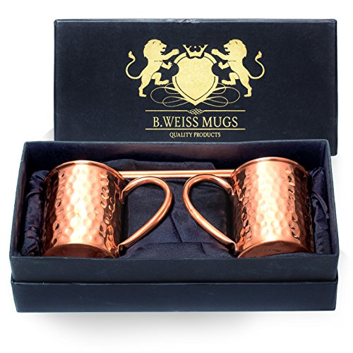 B. WEISS Moscow Mule Copper mugs Set Of 2, Handmade Hammered mugs- 100% Pure Copper Comes in an elegant gift box+ 2 copper straws