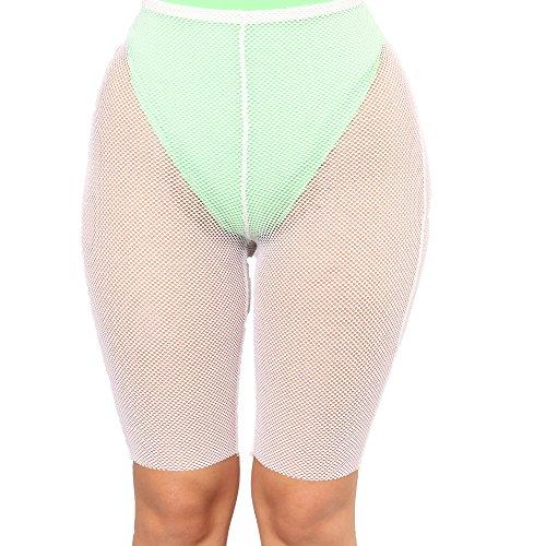 FULA-bao Women Sexy Perspective Mesh Sheer Swim Shorts Pants Bikini Bottom Cover up (White, XL)