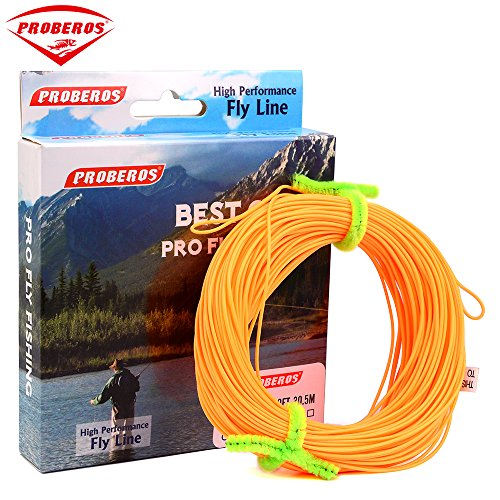Proberos Fly Line With Weight Forward Enhanced Welded Loop Floating Fly Fishing Line (Orange,5F)