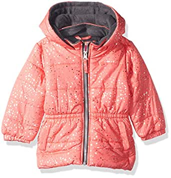 Pink Platinum Baby Girls Printed Foil Star Puffer Jacket, Coral, 12M