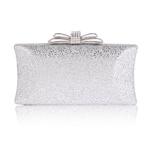 - Damara Womens Hardcase Glitter Cut-out Allover Evening Bag,Silver