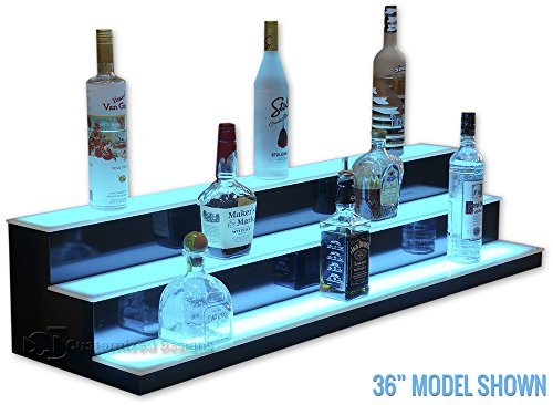"""3 Tier LED Lighted Bar Shelves - Low Profile Style (36"""" Length)"""