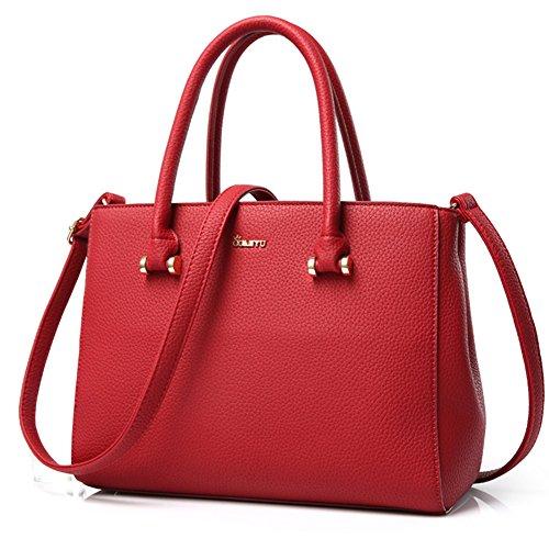 fanhappygo Fashion Retro Leder Damen elegant pu Mode Handtaschen Umschlag Schulterbeutel Umhängetaschen rot 58aT7mJ