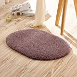 Cheap Singtryee Oval Area Rugs Soft Shaggy Velvet Carpet Round Beside Mats for Living & Bedroom Sofa (16″x24″, Purple)