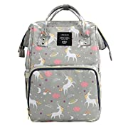 Waterproof Diaper Bag Backpack Multi-Function Large Capacity Travel Backpack Nappy Bags for Baby with Unicorn Cloud Star Pattern (Gray)