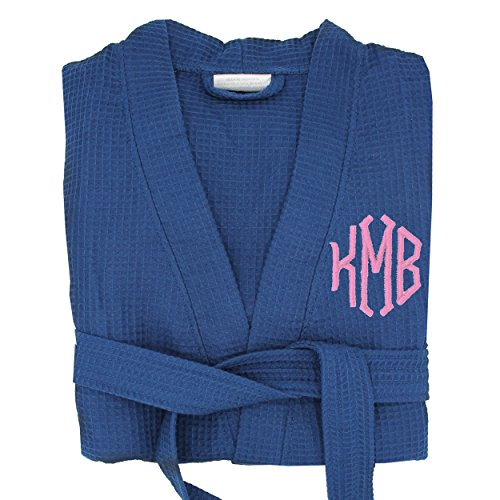 Personalized Waffle Bridesmaid Kimono Robe Gift - Wedding Bridal Party Robes - Women's Bathrobe - Custom Monogrammed for Free (Small/Medium, Navy Blue)