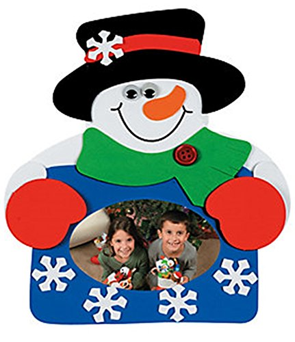 Set of 12 Snowman Photo Picture Frame Magnet Craft Kit]()