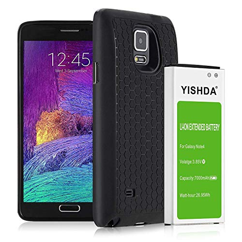 YISHDA Compatible Note 4 Battery, 7000mAh Replacement Battery for Samsung Galaxy Note 4 with Back Cover & TPU Case for N910 N910U N910V N910T N910A N910P | Galaxy Note 4 Extended Battery