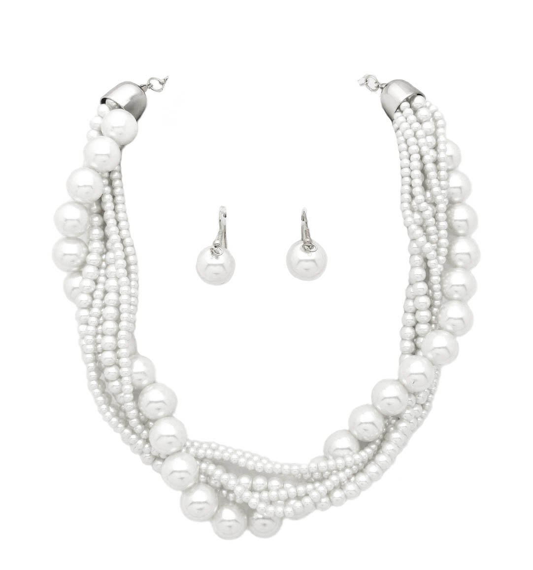 Fashion 21 Women's Twisted Multi-Strand Simulated Pearl, Acrylic Ball Statement Necklace Earrings Set (White)