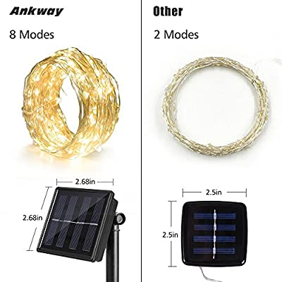 Solar String Lights, 4 Pack, Ankway 100 LED 8 Modes 3-Strands Copper Wire Lights 39 ft Waterproof Outdoor Fairy String Solar Lights for Outside Garden Patio Christmas Tree Indoor Bedroom Warm White