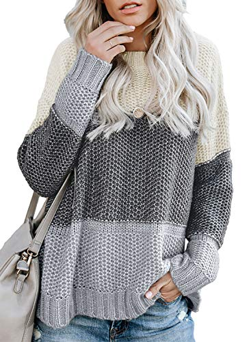 Lovezesent Winter Warm Knitted Striped Sweaters for Women Casual Loose Color Block Pullover Jumper for Jeans Gray Medium