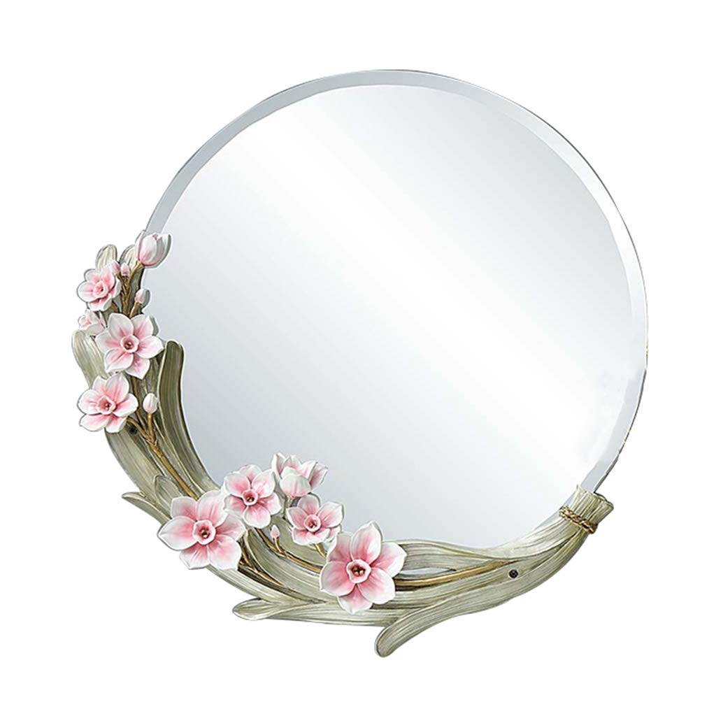 Pink 56cm 22inches Mirrors Hanging On The Wall Mirror Creative Porch Mirror Round Decorative Mirror Wall Hanging Bathroom Mirror Dressing Table Mirror Living Room Wall Mirror Wall-Mounted Vanity Mirrors
