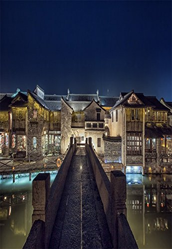 Leowefowa 5x7FT Vinyl Thin Photography Background China Wu Town Waterside Towm Chinese Traditional Classical Building Scenery Outdoors Children Kids Portraits Backdrop 1.5(W)X2.2(H)M Photo Studio - Shop Waterside