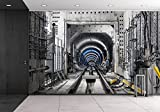 wall26 - Construction of the Subway Tunnel in Moscow - Removable Wall Mural | Self-adhesive Large Wallpaper - 66x96 inches