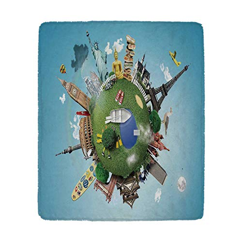 YOLIYANA World Comfortable Blanket,Small Planet with Historical Famous Landmarks Around The World Vacation Travel Tour Decorative for Camp,59'' W x 79'' H