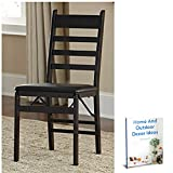 2 Pc Wood Folding Chair Espresso Lawn Indoor Living Room Dinning Room Furniture Set & Ebook By Easy2Find For Sale