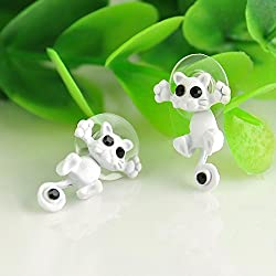 Vintage 3D Kitten Puncture Ear Stud Women Cat Charm Piercing Earrings Jewelry EW (White)