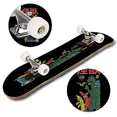 Cuskip Wild Skateboard Complete Longboard 8 Layers Maple Decks Double Kick Concave Skate Board, Standard Tricks Skateboards Outdoors, 31