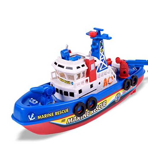 Bigbuyu Electric Marine Rescue Fire Boat with Sound and Flash Lights Water Spraying Ship Model for Toddler Kids (Boat) ()