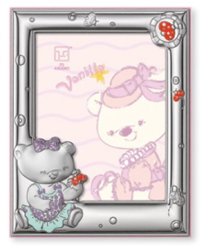 Silver Touch USA Sterling Silver Picture Frame, Vanilla Bear and Butterflies by Silver Touch USA