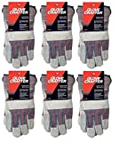 Glove Crafter 13106 Double Leather Palm Multi-Purpose Work Gloves, Pack of 6, Men's One Size, Grey/Red, 6 Piece
