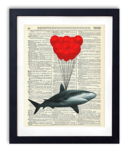 Shark With Balloons Upcycled Vintage Dictionary Art Print 8x10