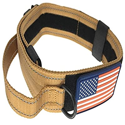 "Dog Collar With Control Handle Military Style Metal Quick Release Tactical Buckle Heavy Duty 2"" Width Nylon With Usa Flag Great For Handling And Training Large Canine Male Or Female K9"