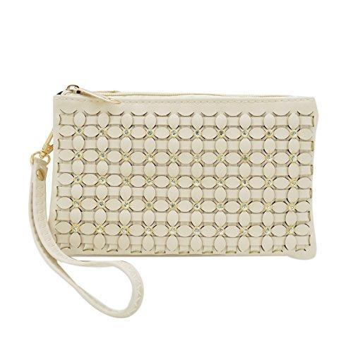 Wallet Crossbody Braided Rhinestone PU Soft Leather Wristlet Clutch Natural Bag Floral 8qFO07WU