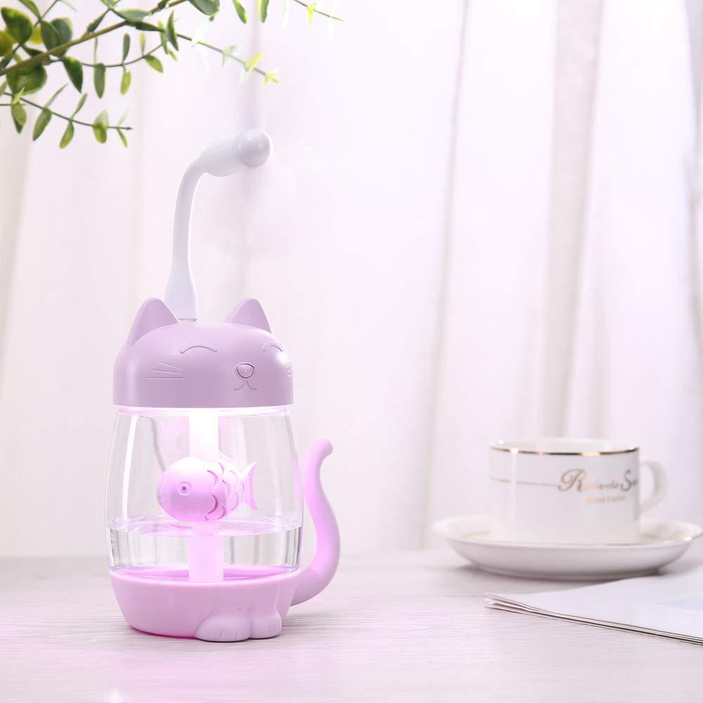 Justine Mooredsfds Cute Mini Kitty Humidifier Cat USB Ultrasonic Night Light Humidifier White