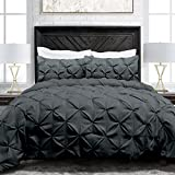 sleep restoration pinch pleat 3piece luxury goose down alternative comforter set premium all season pintuck style duvet set kingcal