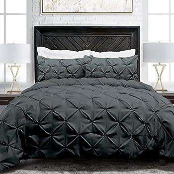Sleep Restoration Pinch Pleat 3-Piece Luxury Goose Down Alternative Comforter Set - Premium Hypoallergenic All Season Pintuck Style Duvet Set -Full/Queen - Gray