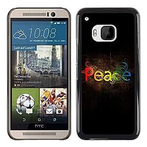 FECELL CITY // Duro Aluminio Pegatina PC Caso decorativo Funda Carcasa de Protección para HTC One M9 // Weed Rainbow Spectrum Text