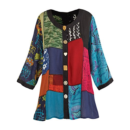 Women's Open Front Tunic Top - Novelty Button Patchwork Fashion Jacket - Medium