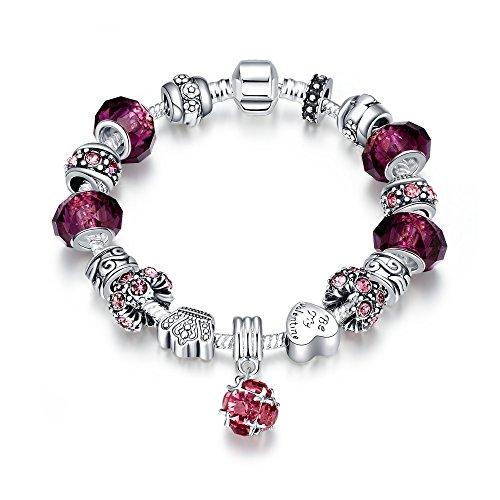Naivo Designer Inspired Crystal Snake Chain Murano Glass Beads Charm Bracelet, 50 Shades of Love, Purple Topaz (Topaz Glass Cut)