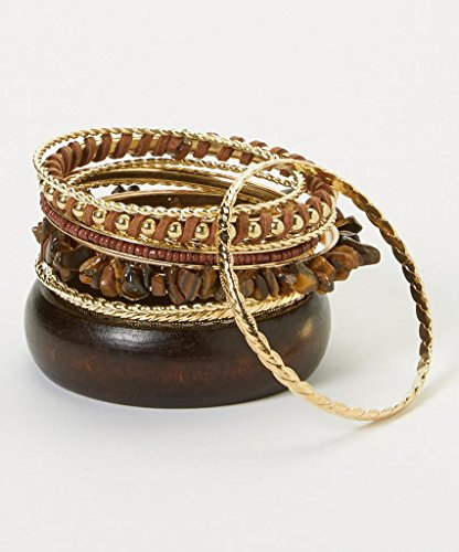 Lux Accessories Xmas Christmas Holiday Brown & Gold Bangle Bracelet Set