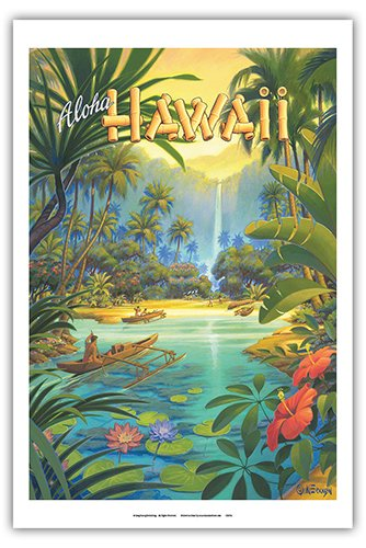 Pacifica Island Art Aloha Hawaii - Vintage Style Hawaiian Travel Poster by Kerne Erickson - Master Art Print - 12 x 18in (Poster Hawaii Travel)
