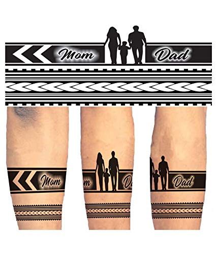 Voorkoms Mom Dad Hand Band Tribal Tattoo Two Design Combo Waterproof Body Temporary Tattoo Amazon In Beauty