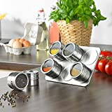 Magnetic Spice Rack, YTAT Multi-Purpose Stainless Steel Spice Storage Jar, Round Storage Spice Tins , Clear Top Lid with Sift or Pour