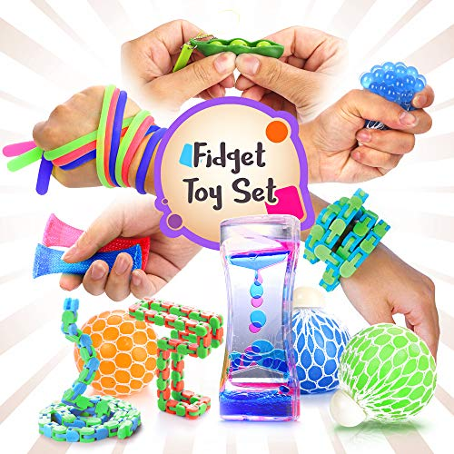 Fidget Toys Set with Stress Balls for Kids, Teens and Adults, 18 Pack Stretchy Sensory Tool with Liquid Motion Timer for ADHD, Autism and Anxiety, Fun Fidgeting Game for Classroom and Office