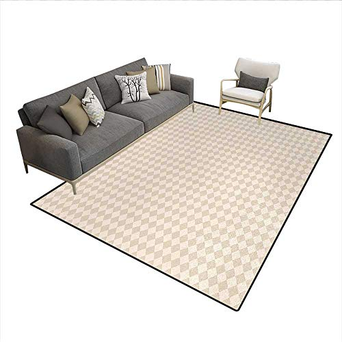 Floor Mat,Retro Geometric Checked Pattern Diagonal Rhombus Tile Pastel Colored Design,Small Rug Carpet,Brown CreamSize:6'x7'