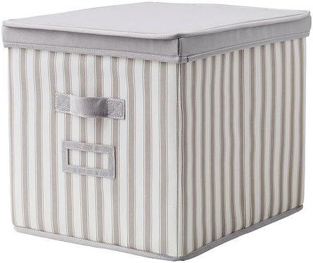 IKEA SVIRA - Caja con tapa, gris, raya blanca: Amazon.es: Hogar