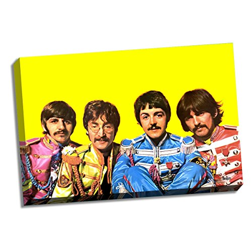 The Beatles Sgt. Pepper Group Pose Yellow Background 24 Inch X 36 Inch Stretched Canvas by Steiner Sports