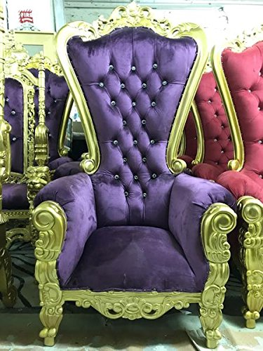 ''Tiffany'' Hand Carved Royal King/Queen Chair High Back Party Throne Mahogany Purple Velvet Gold Finish - 70'' Height by Throne Kingdom